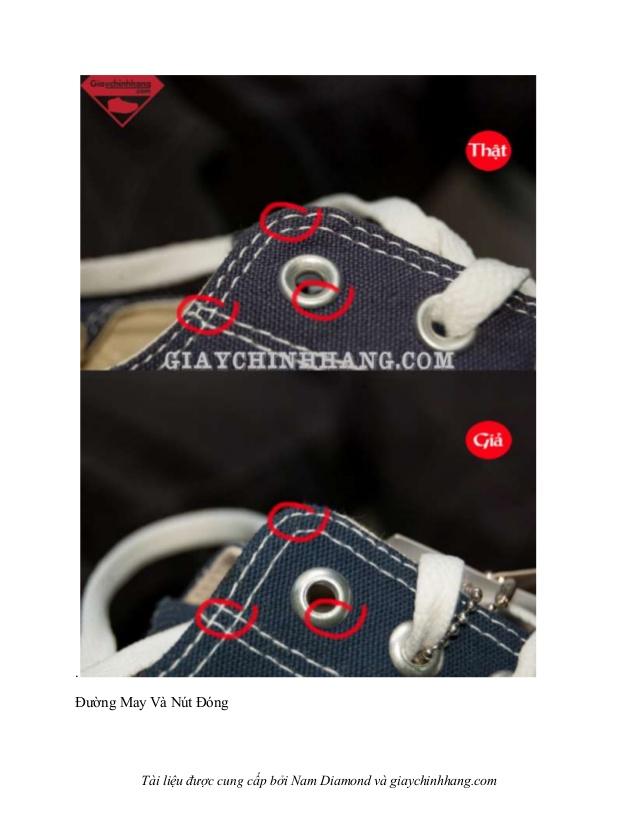 Đường chỉ may của giày Converse chính hãng và giày giá rẻ