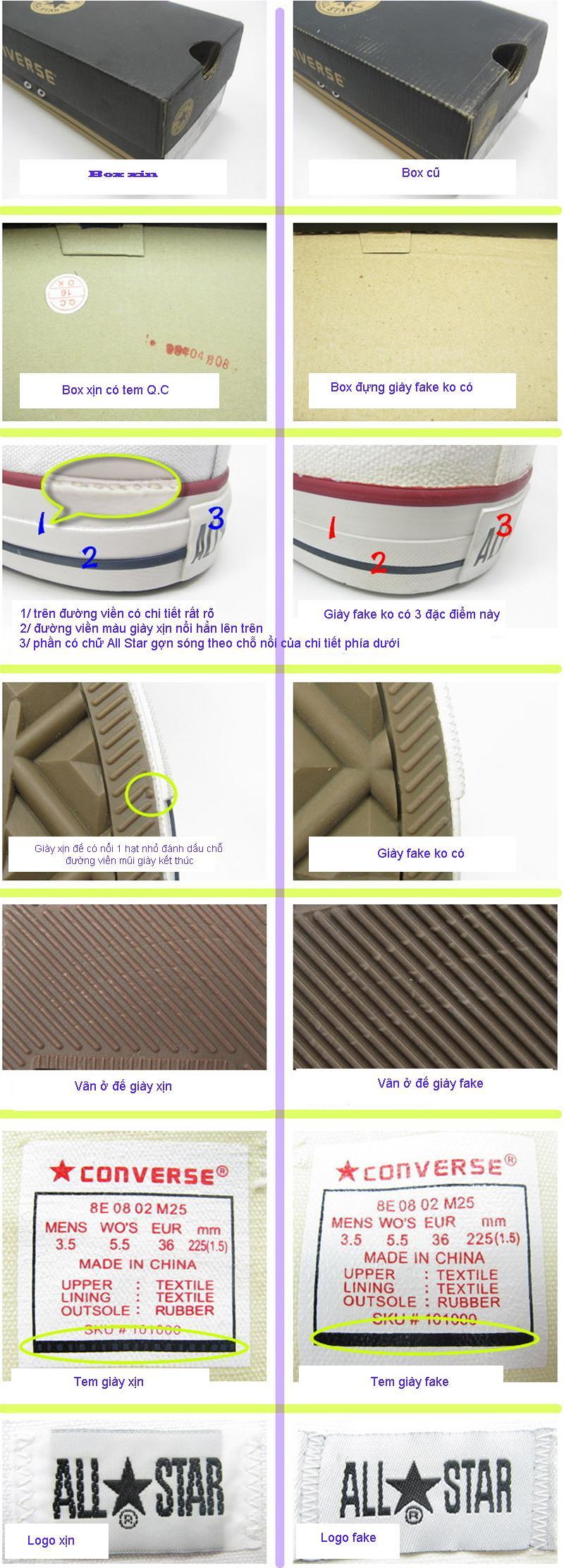 Những dấu hiệu nhận biết giày converse xịn và giả