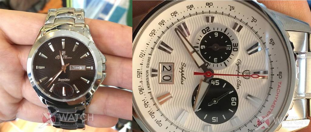 Đồng hồ fake (trái) có logo bằng miếng kim loại dán lên mặt số, đồng hồ chính hãng (phải) có logo in bằng mực chuyên dụng