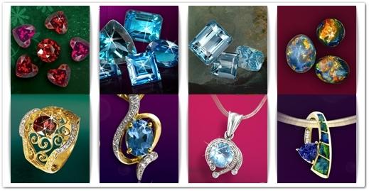 """Từ trái sang: Garnet - Topaz - Aquamarine - Opal """"thật"""" của thương hiệu uy tín Bảo Tín Minh Châu"""