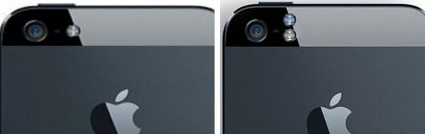 Flash đơn của iPhone 5 (bên trái) và flash kép của iPhone 5s (bên phải)