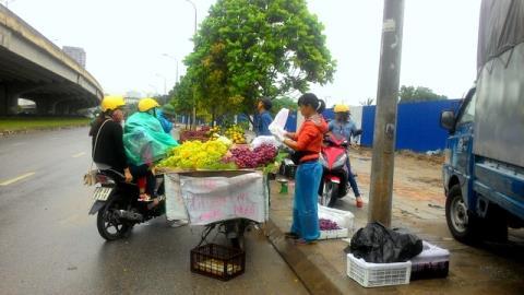 Các loại nho Ninh Thuận được người dân bày bán khắp đoạn đường qua lại đông đúc