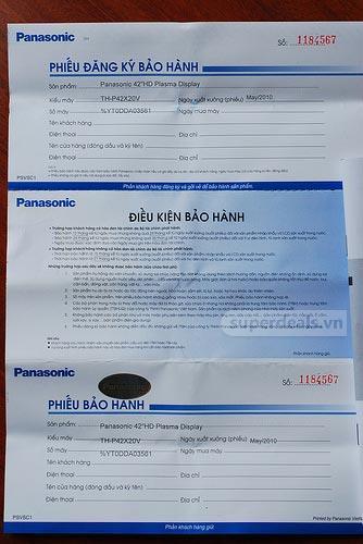 Phiếubảo hành của Panasonic chính hãng