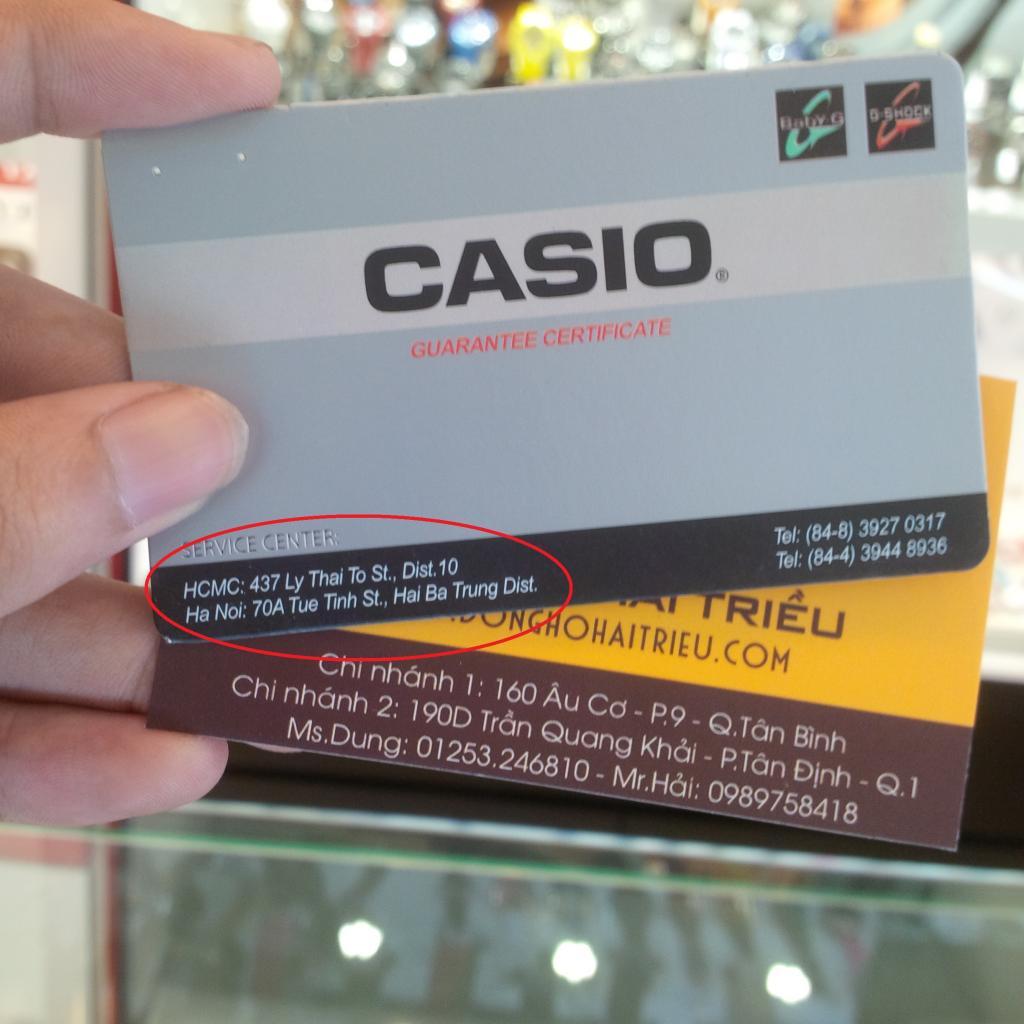 Mặt trước của đồng hồ Casio Edifice chính hãng