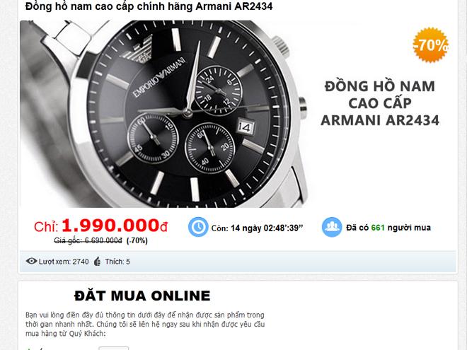 Hình ảnh của một trang web bán đồng hồ Armani fake