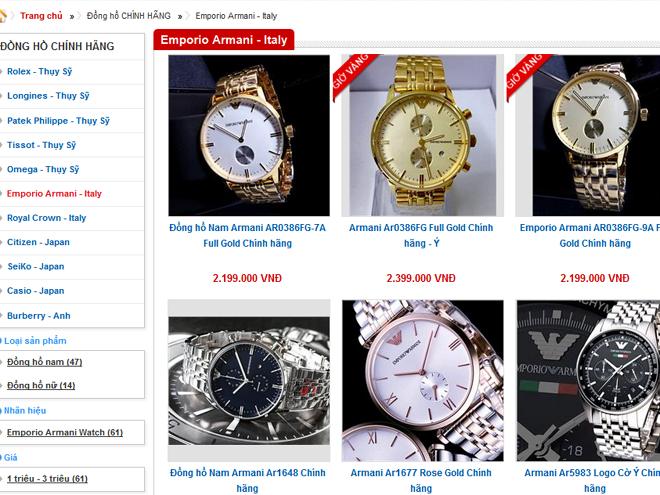 Một trang web bán đồng hồ Armani fake với mức giá quá thấp