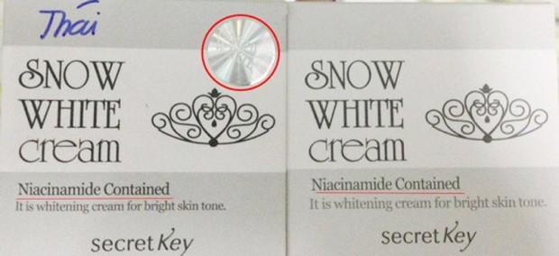 Kem Snow White Thái Lan có tem còn sản phẩm của Hàn Quốc không có tem