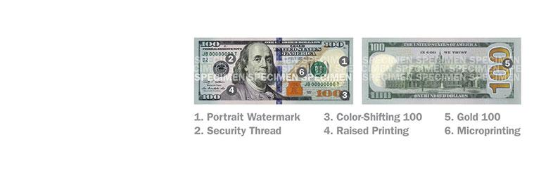 Những đặc điểm bảo an khác: bóng chìm chân dung, đường chỉ bảo an, và số 100 đổi màu.