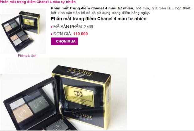Giá một trang web đăng tải bán mỹ phẩm phấn trang điểm Chanel nhái