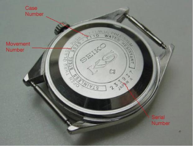 Các thông số ở mặt sau đồng hồ Seiko chính hãng