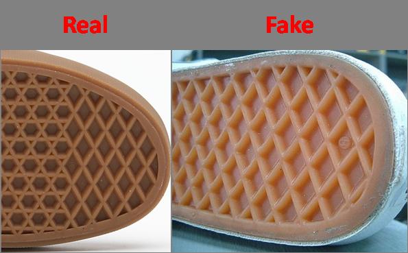 Phân biệt Giày Vans Thật Giả thông qua cấu trúc đế giày.