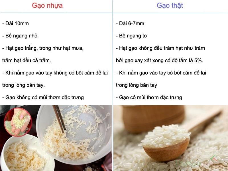 Phân biệt gạo nhựa và gạo thật