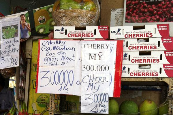 phân biệt cherry Trung Quốc và cherry ÚC qua giá bán
