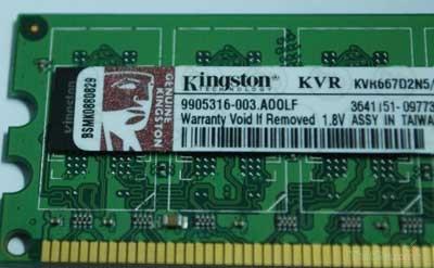 Tem và logo của Ram Kingston chính hãng sắc nét