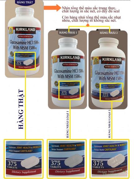 Glucosamin HCL thật có màu sắc trung thực, chất lượng in sắc nét. Thuốc Glucosamin HCL giả có màu sắc nhạt, chất lượng in không sắc nét