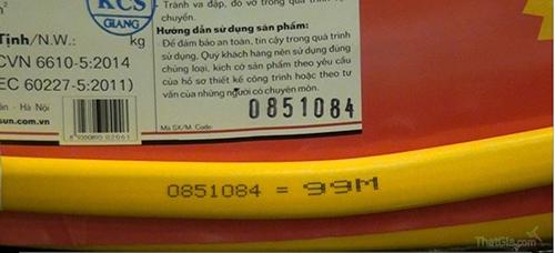 Mã số đồng nhất trên dây điện và trên nhãn mác sản phẩm chính hãng