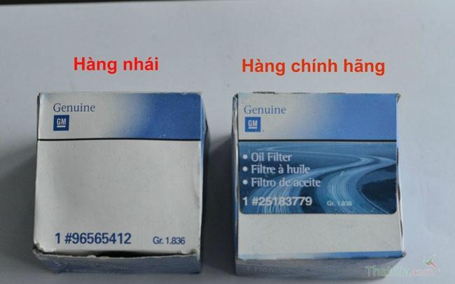Khác nhau về mã ghi sản phẩm và thông tin của hai loại lọc dầu Nhái và Chính Hãng