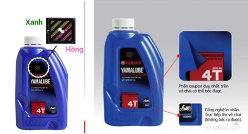 Tem chống giả đổi từ màu xanh sang hồng cùng công nghệ ép nhiệt nhãn chai giúp Yamalube khó bị làm giả