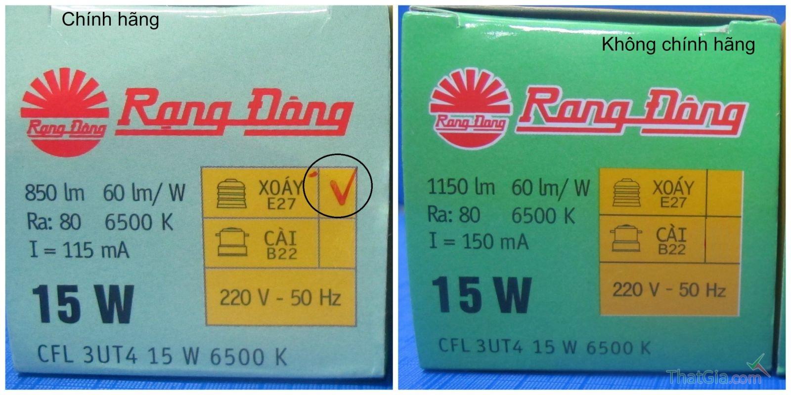 """Vỏ hộp có ký hiệu chữ """"V"""" ở ô tích ảnh đui đèn (ảnh bên trái) là bao bì của bóng đèn Rạng Đông chính hãng"""