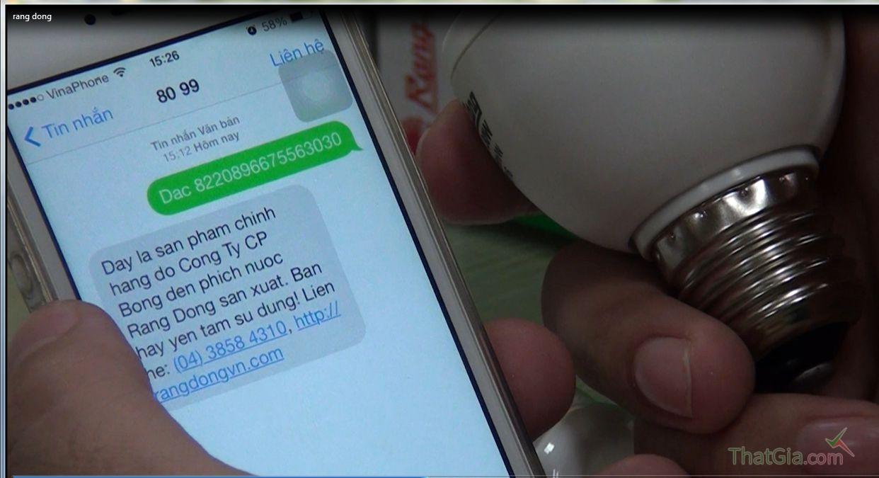 """Soạn tin nhắn theo cú pháp """"DAC_ Mã số"""" và gửi về tổng đài 8099 để xác định hàng Chính Hãng Rạng Đông"""