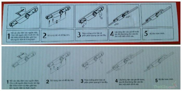 Bao bì bóng đèn Điện Quang chính hãng các bước này được đánh số lần lượt và liên tiếp