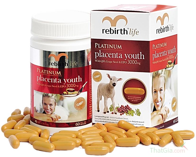 Viên uống nhau thai cừu Rebirth 60 viên/hộp