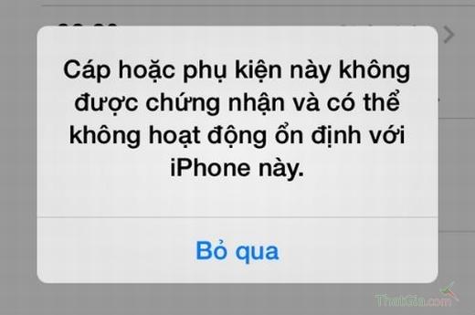 xuất hiện thông báo khi sư dụng cap iphone giả