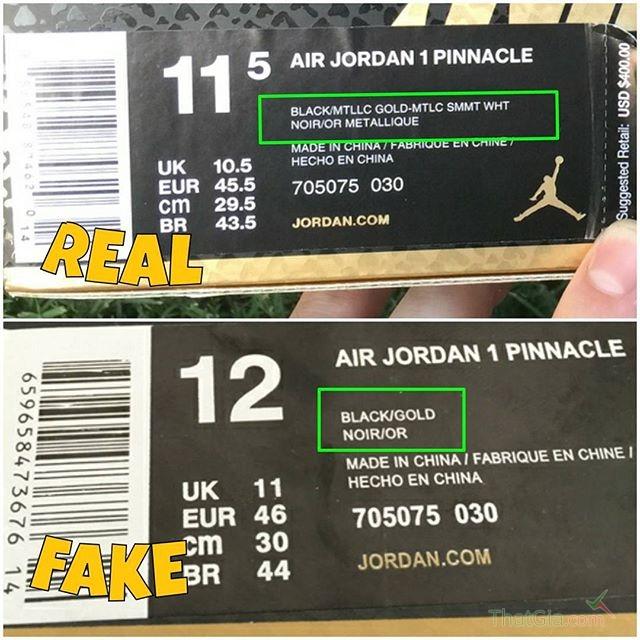 Phân biệt thật giả Air Jordan 1 Pinnacle