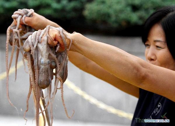 Bạch tuộc Thật có phần thân rõ ràng, phần thịt, râu không mềm nhũn như bún ngâm nước