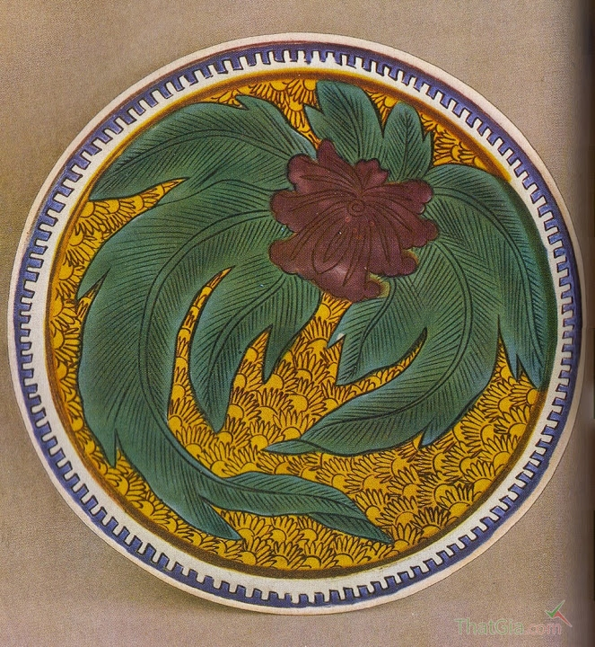 Đĩa sứ Kutani trang trí hoa cỏ