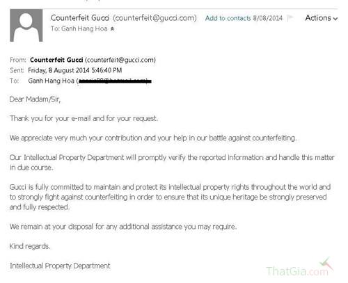 Bức thư mà đại diện ban hàng giả của Gucci gửi lại cho khách hàng N.N.N.
