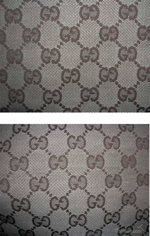 Chất liệu vải canvas truyền thống của Gucci thật (ảnh trên) không mờ và