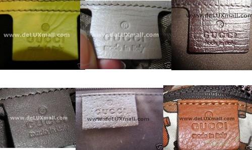 Mác của Gucci thật (ảnh trên) có chữ dập rất sâu, nét, đều, được cắt vuông vức, viền mác không bị lởm chởm như hàng giả (ảnh dưới).