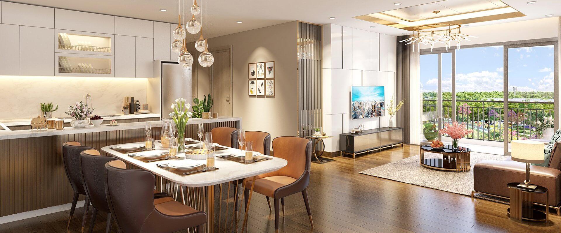 Phối cảnh 3D căn hộ 3 phòng ngủ đẹp lung linh tại dự án Eco-Green Saigon